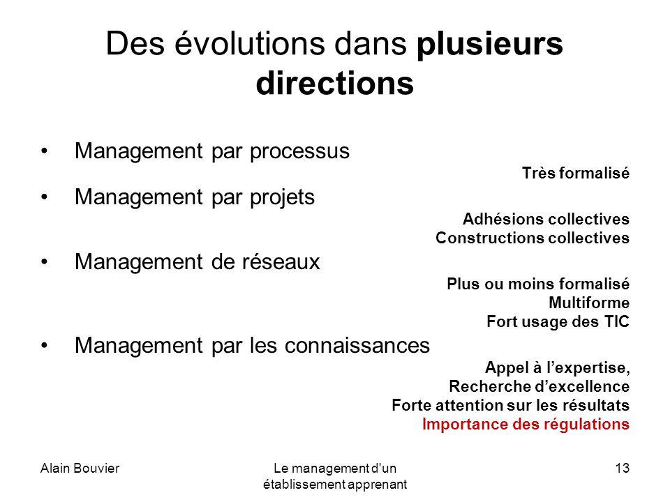 Alain BouvierLe management d'un établissement apprenant 13 Des évolutions dans plusieurs directions Management par processus Très formalisé Management