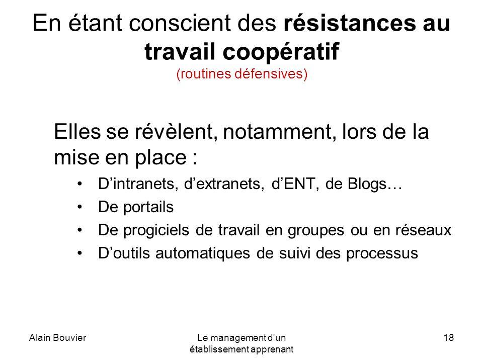 Alain BouvierLe management d'un établissement apprenant 18 En étant conscient des résistances au travail coopératif (routines défensives) Elles se rév