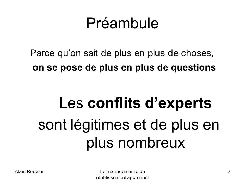 Alain BouvierLe management d un établissement apprenant 3 Consensus versus conflits didées Débats scientifiques sur le pédagogique et son organisation Pratiquer une pédagogie des enjeux