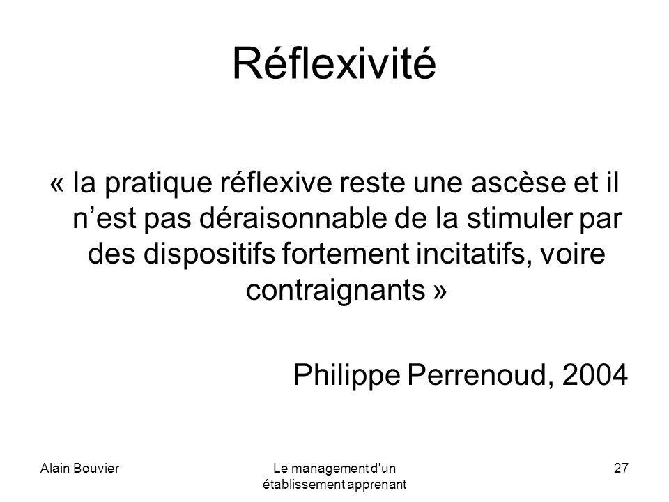 Alain BouvierLe management d'un établissement apprenant 27 Réflexivité « la pratique réflexive reste une ascèse et il nest pas déraisonnable de la sti