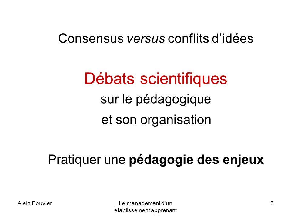 Alain BouvierLe management d'un établissement apprenant 3 Consensus versus conflits didées Débats scientifiques sur le pédagogique et son organisation