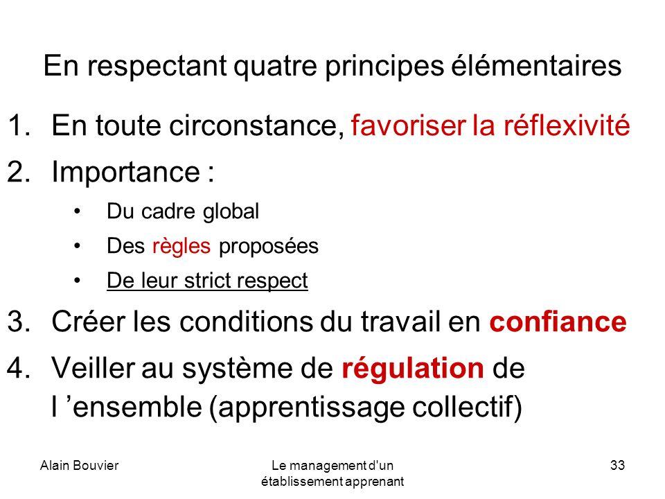 Alain BouvierLe management d'un établissement apprenant 33 En respectant quatre principes élémentaires 1.En toute circonstance, favoriser la réflexivi