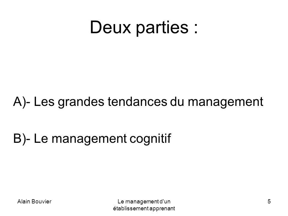 Alain BouvierLe management d'un établissement apprenant 5 Deux parties : A)- Les grandes tendances du management B)- Le management cognitif