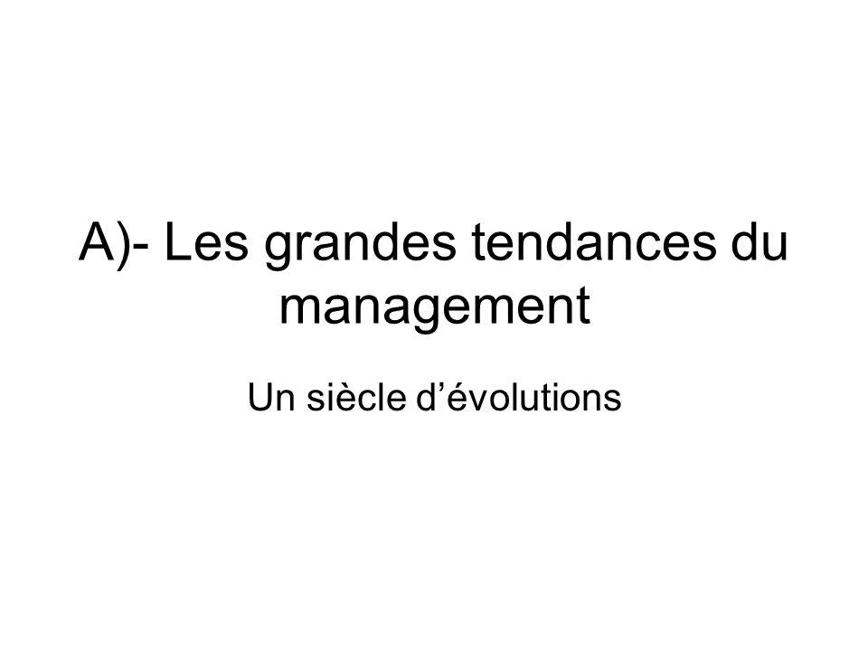A)- Les grandes tendances du management Un siècle dévolutions