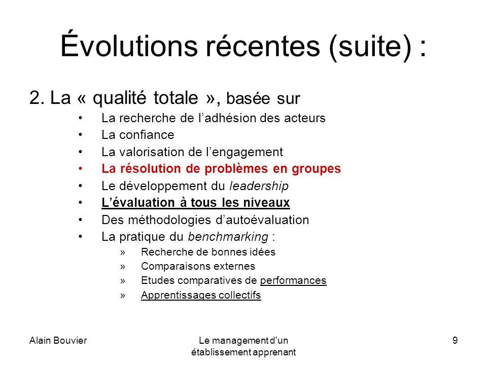 Alain BouvierLe management d'un établissement apprenant 9 Évolutions récentes (suite) : 2. La « qualité totale », basée sur La recherche de ladhésion