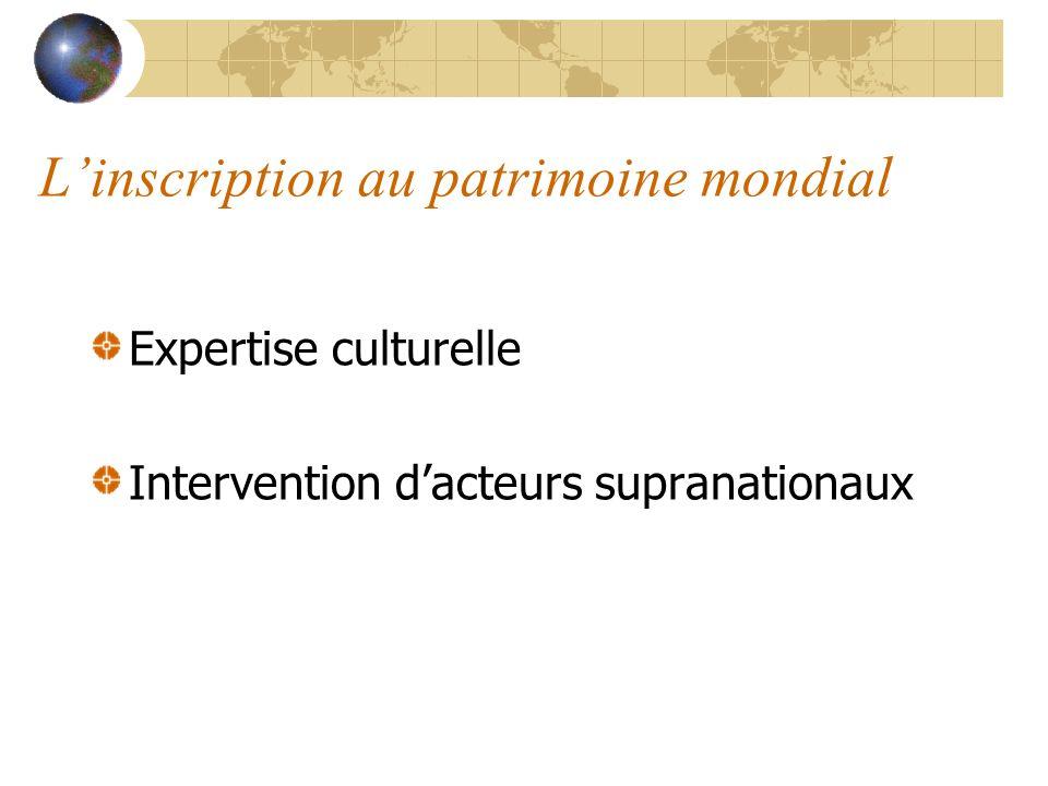 Linscription au patrimoine mondial Expertise culturelle Intervention dacteurs supranationaux