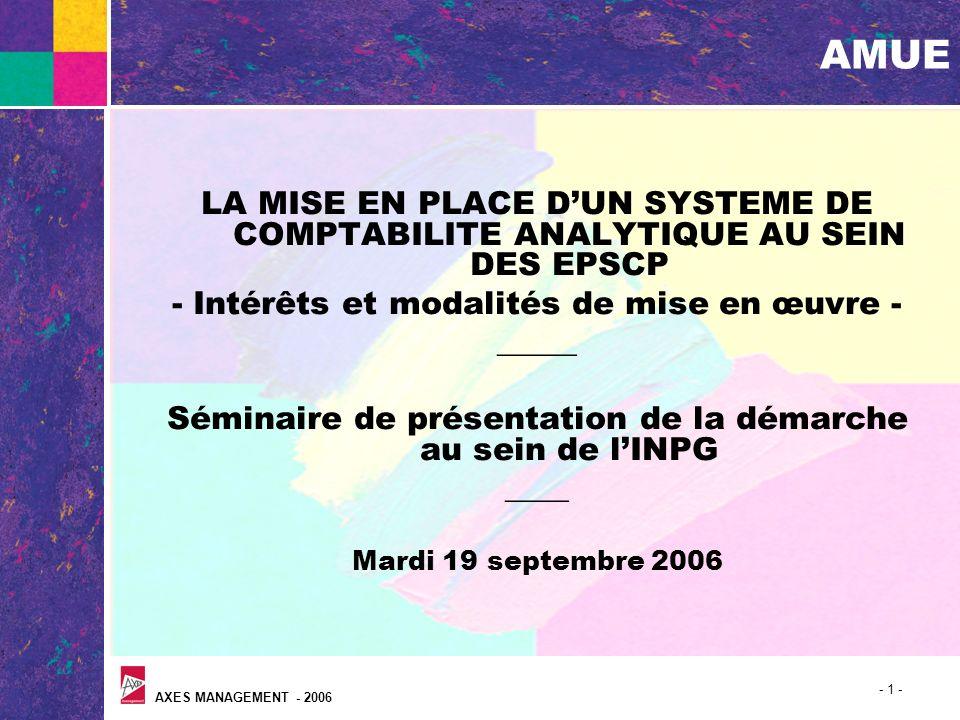 AXES MANAGEMENT - 2006 - 1 - AMUE LA MISE EN PLACE DUN SYSTEME DE COMPTABILITE ANALYTIQUE AU SEIN DES EPSCP - Intérêts et modalités de mise en œuvre -