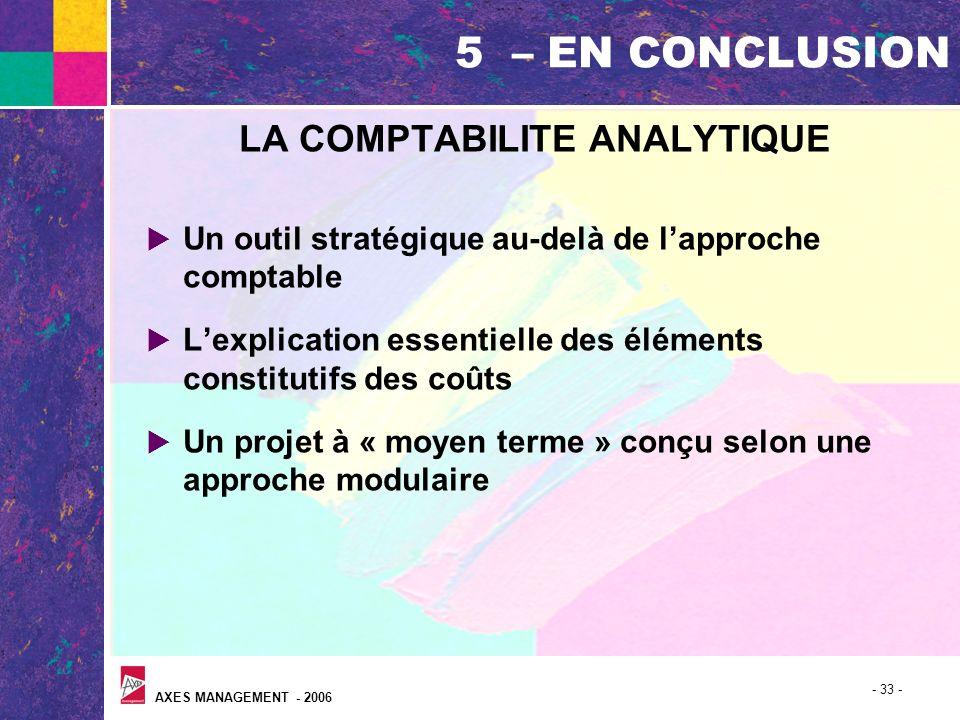 AXES MANAGEMENT - 2006 - 33 - 5 – EN CONCLUSION LA COMPTABILITE ANALYTIQUE Un outil stratégique au-delà de lapproche comptable Lexplication essentiell