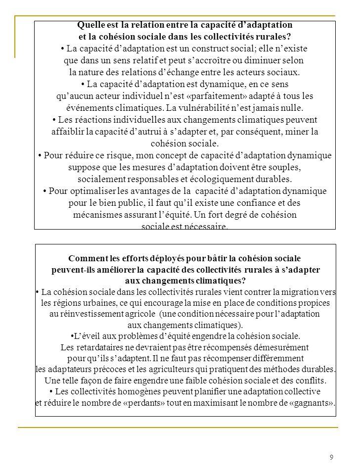 10 Conclusion Les notions classiques de capacité dadaptation sapparentent de plusieurs façons à la gestion du risque.