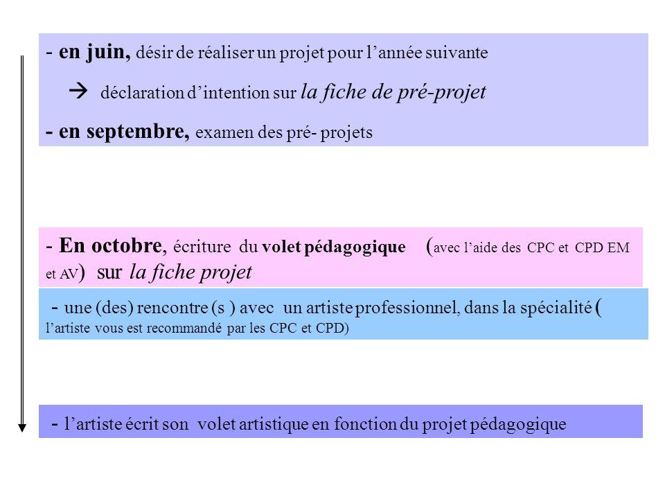 - En octobre, écriture du volet pédagogique ( avec laide des CPC et CPD EM et AV ) sur la fiche projet - une (des) rencontre (s ) avec un artiste prof