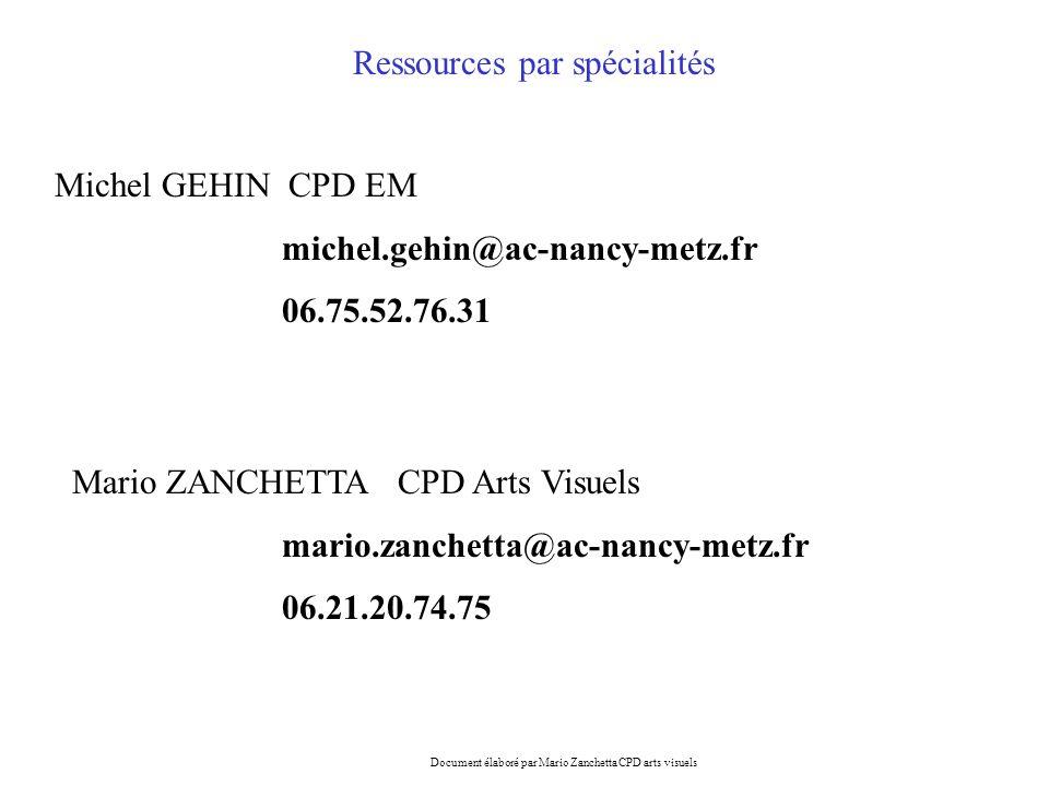 Mario ZANCHETTA CPD Arts Visuels mario.zanchetta@ac-nancy-metz.fr 06.21.20.74.75 Michel GEHIN CPD EM michel.gehin@ac-nancy-metz.fr 06.75.52.76.31 Ress