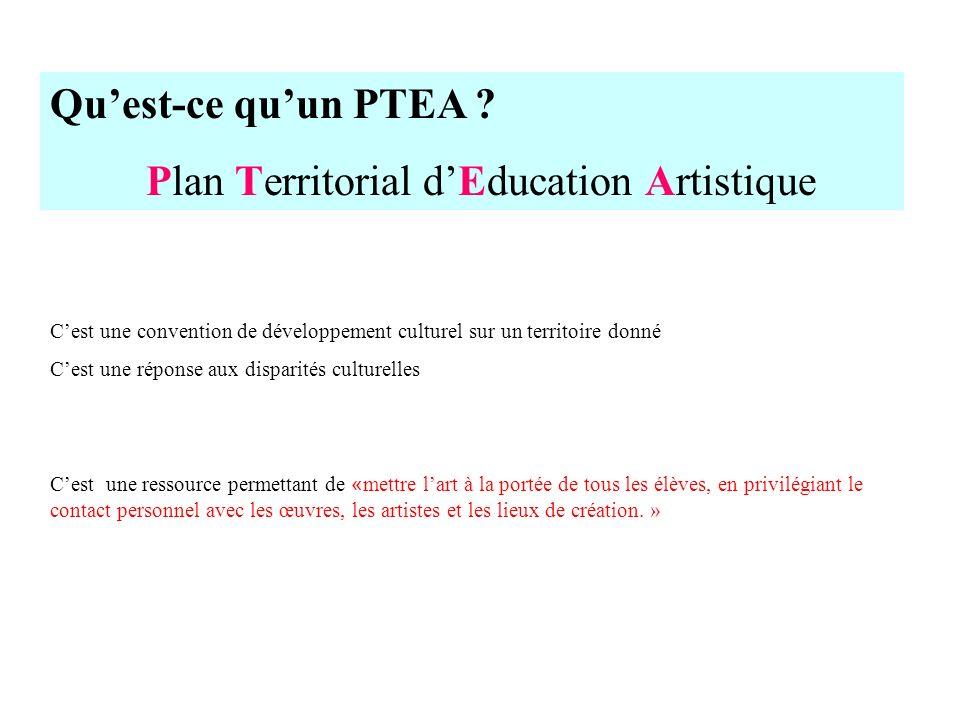 Quest-ce quun PTEA ? Plan Territorial dEducation Artistique Cest une convention de développement culturel sur un territoire donné Cest une réponse aux