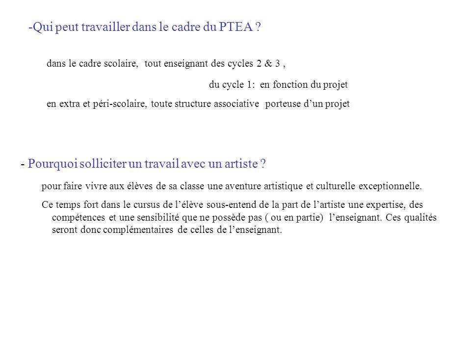 Modalités dun projet PTEA - Intervention dun artiste obligatoirement agréé DRAC ( un artiste professionnel, qui vit de son art) - Durée des interventions pour un projet de classe: 25 heures maxi.