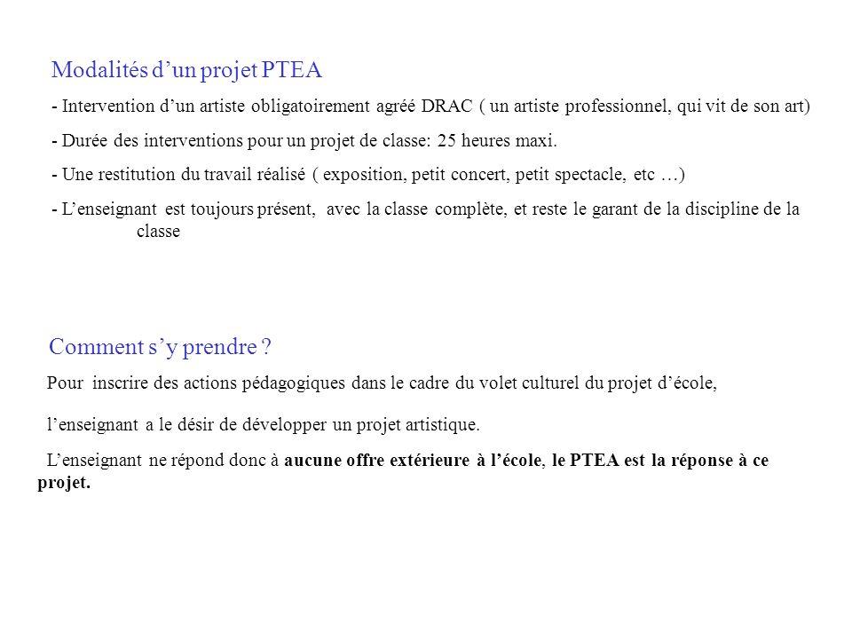 Modalités dun projet PTEA - Intervention dun artiste obligatoirement agréé DRAC ( un artiste professionnel, qui vit de son art) - Durée des interventi