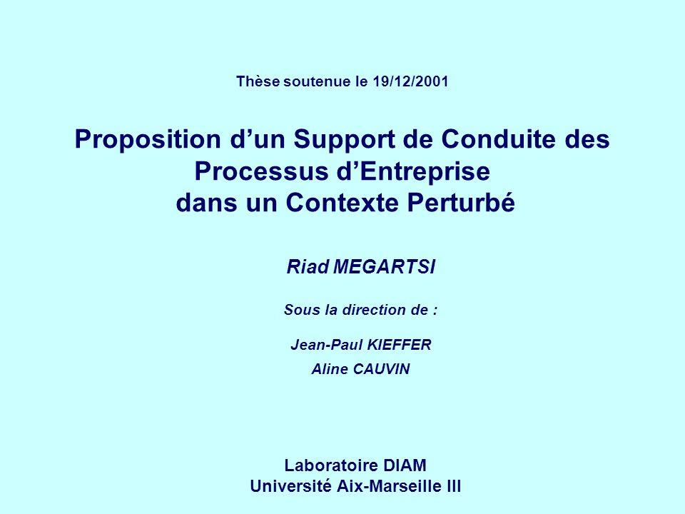 Thèse soutenue le 19/12/2001 Proposition dun Support de Conduite des Processus dEntreprise dans un Contexte Perturbé Riad MEGARTSI Sous la direction de : Jean-Paul KIEFFER Aline CAUVIN Laboratoire DIAM Université Aix-Marseille III