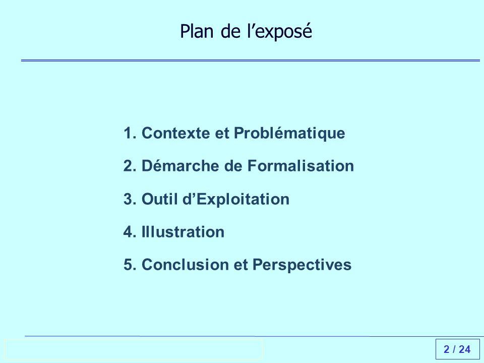 2 / 24 Plan de lexposé 1.Contexte et Problématique 2.Démarche de Formalisation 3.Outil dExploitation 4.Illustration 5.Conclusion et Perspectives