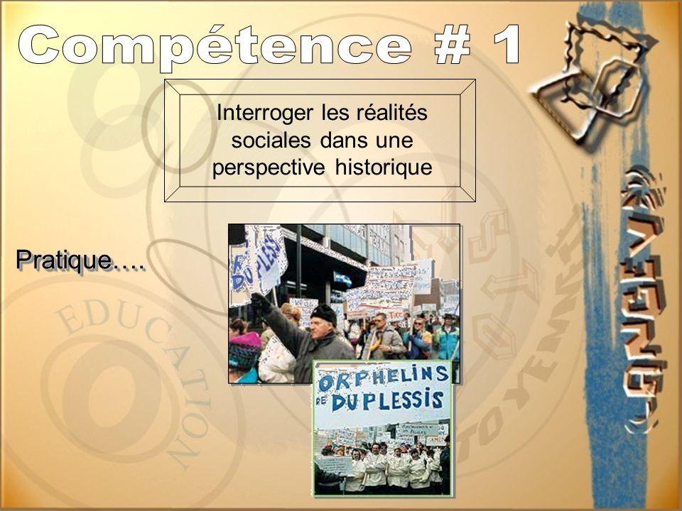 Interroger les réalités sociales dans une perspective historique Pratique….Pratique….