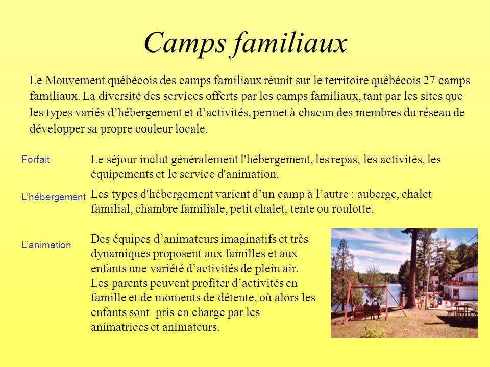 Forfait Lhébergement Lanimation Le Mouvement québécois des camps familiaux réunit sur le territoire québécois 27 camps familiaux.