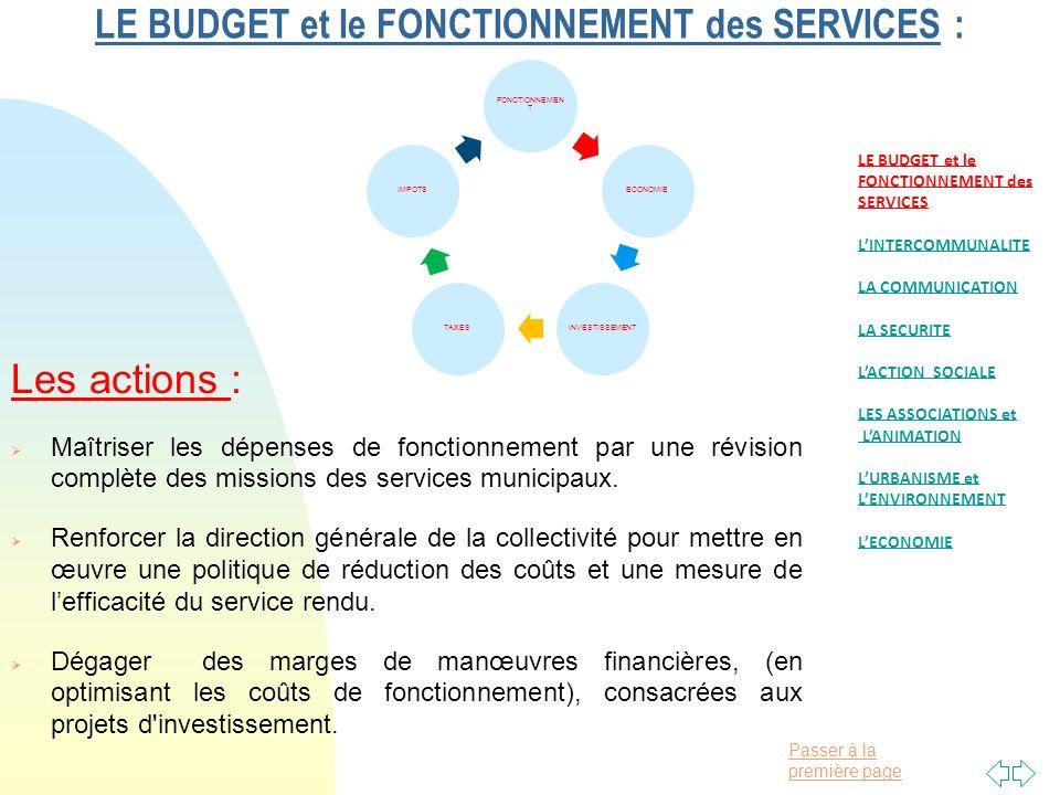 Passer à la première page LE BUDGET et le FONCTIONNEMENT des SERVICES : Les actions : Maîtriser les dépenses de fonctionnement par une révision complète des missions des services municipaux.