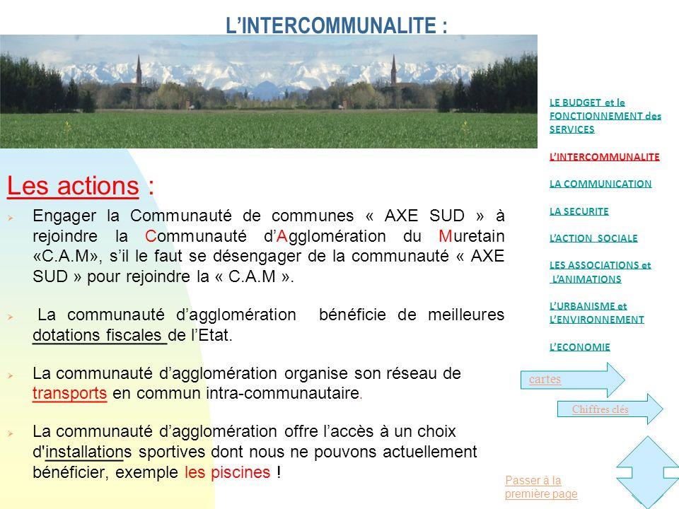 Passer à la première page LINTERCOMMUNALITE : Les actions : Engager la Communauté de communes « AXE SUD » à rejoindre la Communauté dAgglomération du Muretain «C.A.M», sil le faut se désengager de la communauté « AXE SUD » pour rejoindre la « C.A.M ».
