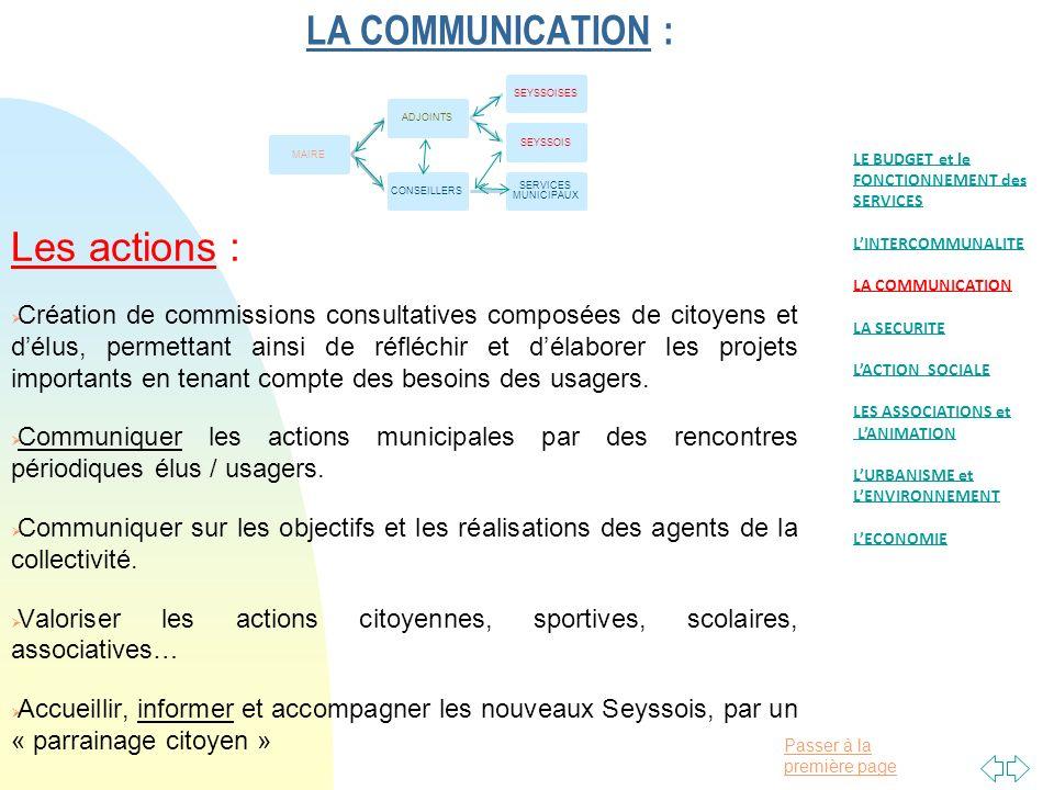 Passer à la première page LA COMMUNICATION : Les actions : Création de commissions consultatives composées de citoyens et délus, permettant ainsi de réfléchir et délaborer les projets importants en tenant compte des besoins des usagers.