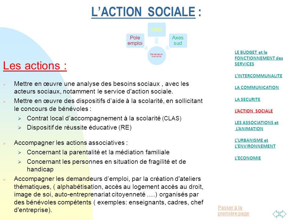 Passer à la première page LACTION SOCIALE : Les actions : Mettre en œuvre une analyse des besoins sociaux, avec les acteurs sociaux, notamment le service d action sociale.