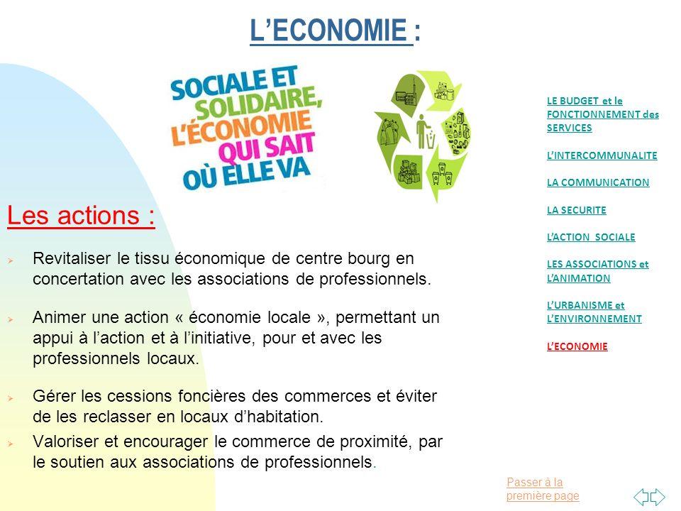 Passer à la première page LECONOMIE : Les actions : Revitaliser le tissu économique de centre bourg en concertation avec les associations de professionnels.