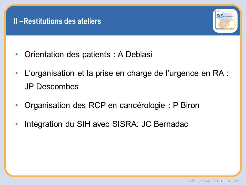 Ateliers SISRA – 7 Octobre 2009 III –Photo SISRA Identifiant patient régional : 1 400 000 patients Réseaux de soins : 26 réseaux/ 90 000 patients Dossier régional: 340 000 patients/3.7 M doc médicaux Trajectoire : 60% des placements en SSR de la région Urgences pré-hospitalière : 2 départements en production Répertoire Opérationnel des Urgences : 79 référents désignés/2137 visites Réunions de concertations pluridisciplinaire : 44% des CR de RCP sont déjà dans le DPPR Tous ces outils sont accessibles sur www.sante-ra.fr
