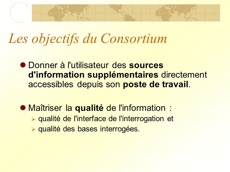 Les objectifs du Consortium Donner à l utilisateur des sources d information supplémentaires directement accessibles depuis son poste de travail.