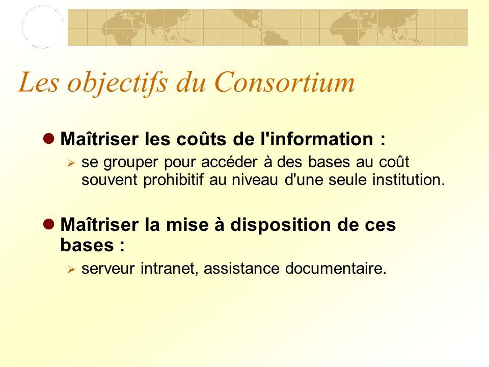 Les objectifs du Consortium Maîtriser les coûts de l information : se grouper pour accéder à des bases au coût souvent prohibitif au niveau d une seule institution.