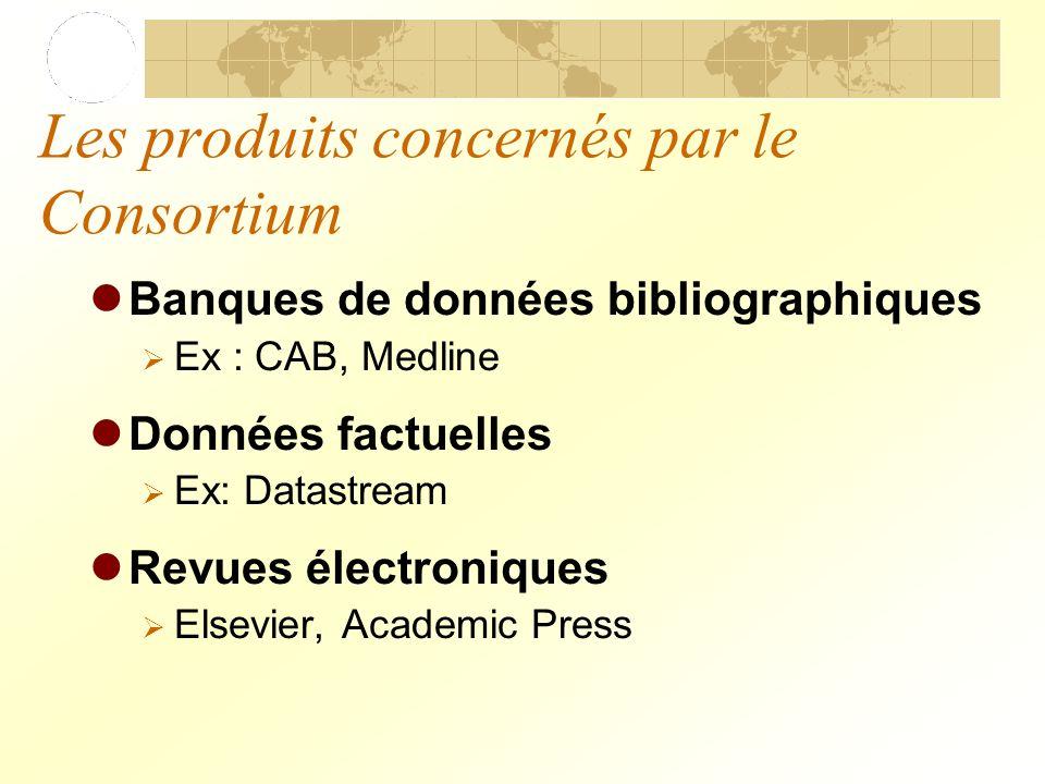 Les produits concernés par le Consortium Banques de données bibliographiques Ex : CAB, Medline Données factuelles Ex: Datastream Revues électroniques Elsevier, Academic Press
