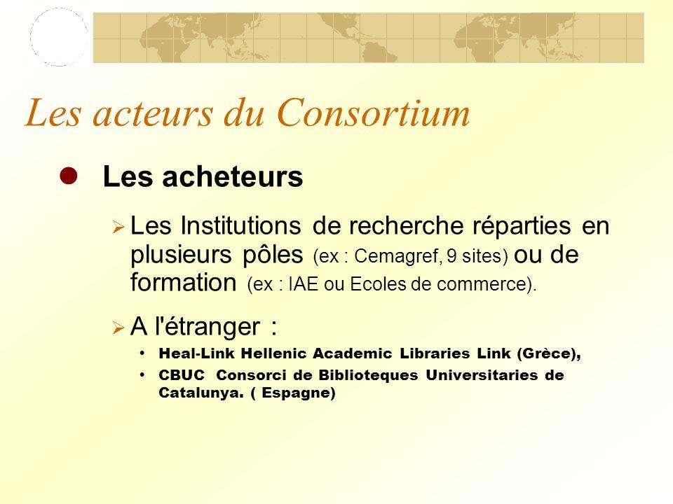 Les acteurs du Consortium Les acheteurs Les Institutions de recherche réparties en plusieurs pôles (ex : Cemagref, 9 sites) ou de formation (ex : IAE ou Ecoles de commerce).