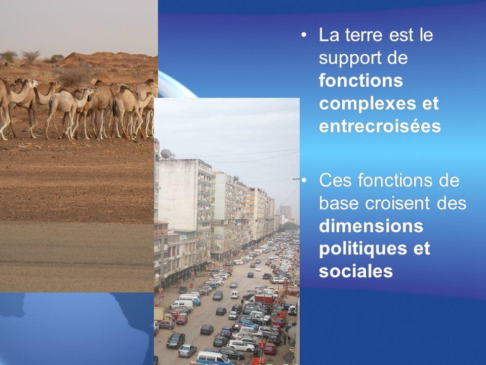 La terre est le support de fonctions complexes et entrecroisées Ces fonctions de base croisent des dimensions politiques et sociales La terre est le support de fonctions complexes et entrecroisées Ces fonctions de base croisent des dimensions politiques et sociales