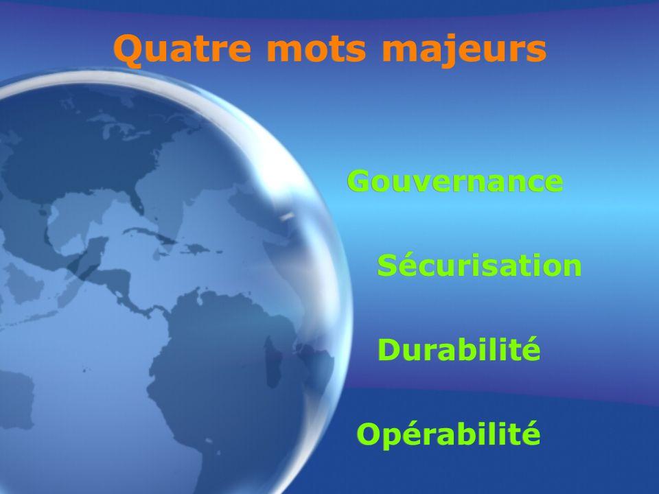 Quatre mots majeurs Gouvernance Sécurisation Durabilité Opérabilité Gouvernance Sécurisation Durabilité Opérabilité