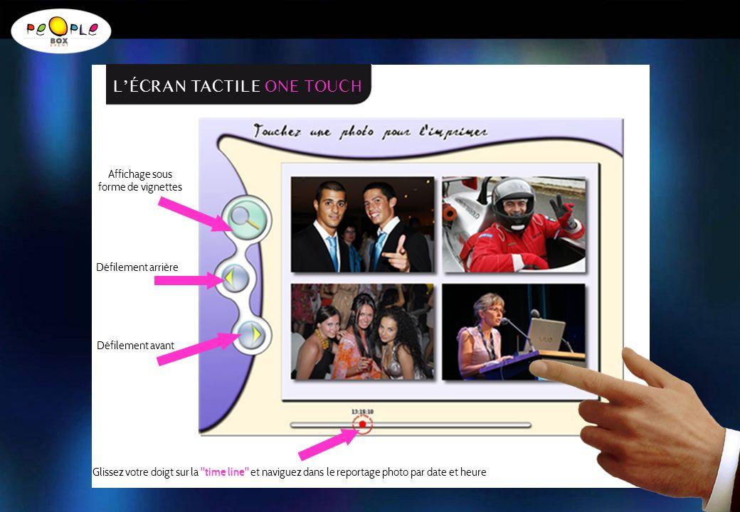 Affichage sous forme de vignettes Défilement arrière Défilement avant Glissez votre doigt sur la time line et naviguez dans le reportage photo par date et heure LÉCRAN TACTILE ONE TOUCH