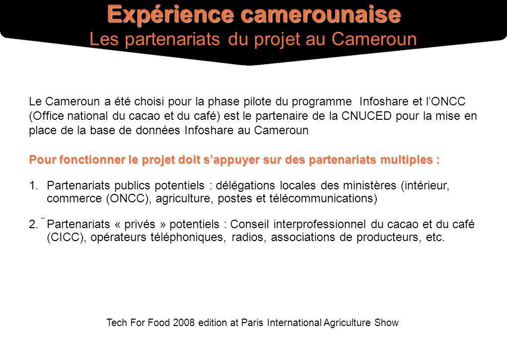 Tech For Food 2008 edition at Paris International Agriculture Show Pour fonctionner le projet doit sappuyer sur des partenariats multiples : 1. Parten