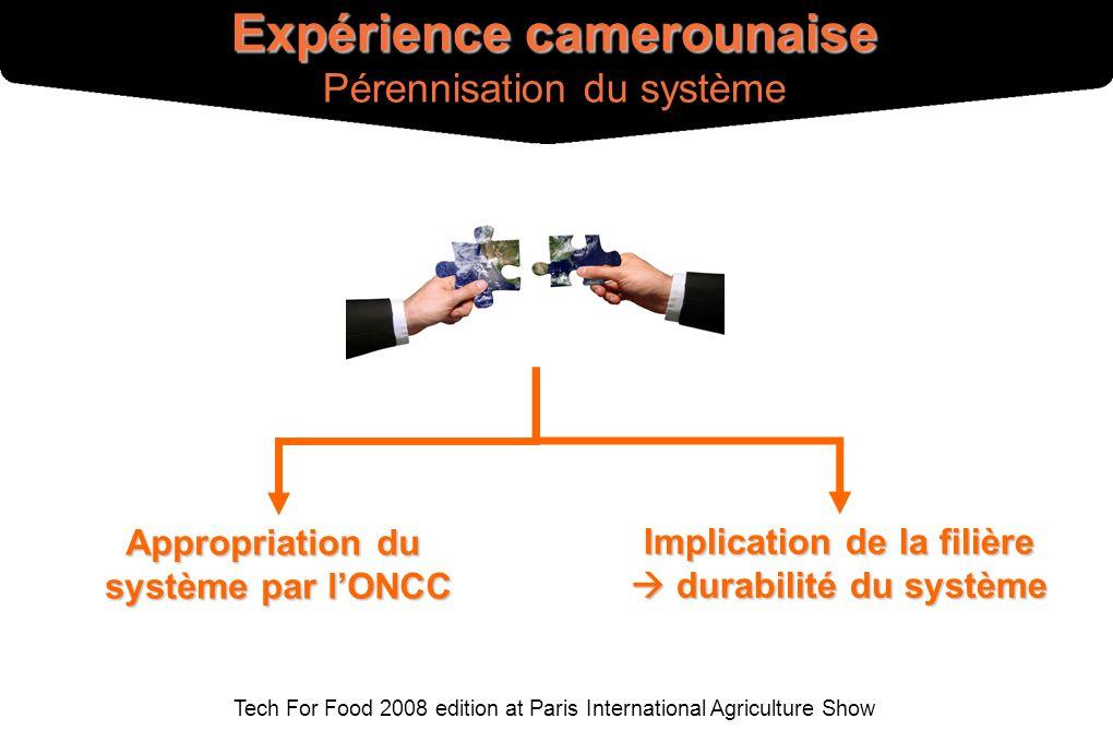 Tech For Food 2008 edition at Paris International Agriculture Show Appropriation du système par lONCC Implication de la filière durabilité du système