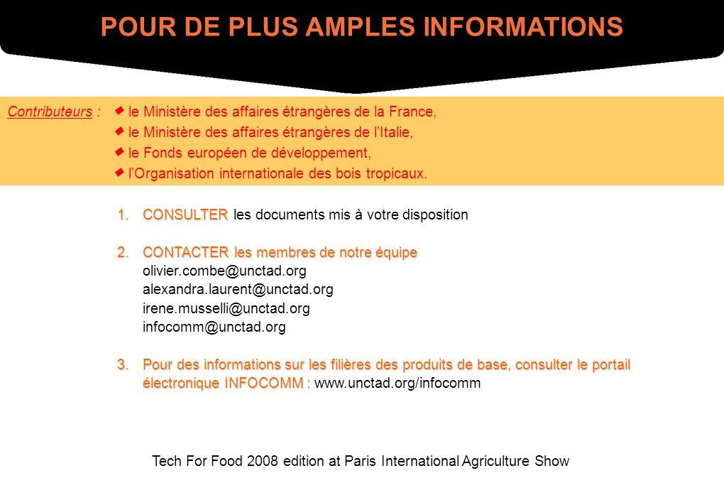 Tech For Food 2008 edition at Paris International Agriculture Show POUR DE PLUS AMPLES INFORMATIONS 1.CONSULTER 1.CONSULTER les documents mis à votre