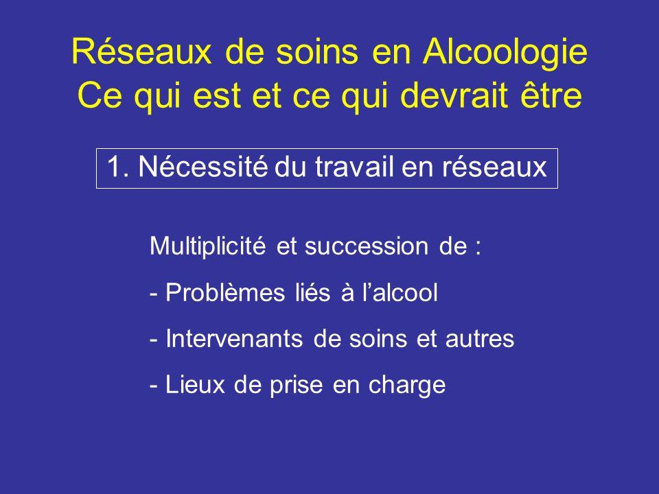 Réseaux de soins en Alcoologie Ce qui est et ce qui devrait être 1.