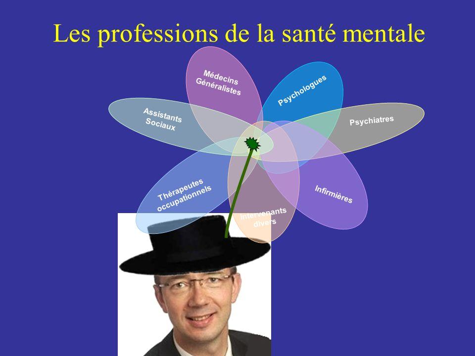 Les professions de la santé mentale Médecins Généralistes Assistants Sociaux Intervenants divers Psychologues Thérapeutes occupationnels Psychiatres Infirmières