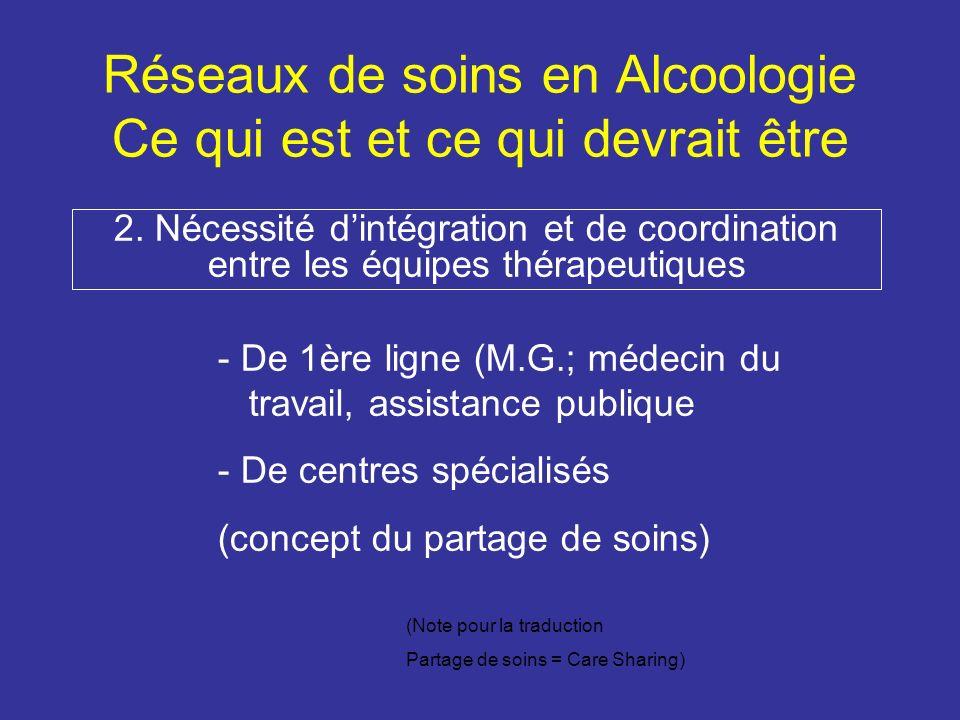 Réseaux de soins en Alcoologie Ce qui est et ce qui devrait être 2.