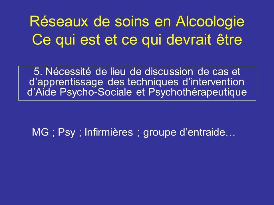 Réseaux de soins en Alcoologie Ce qui est et ce qui devrait être 5.