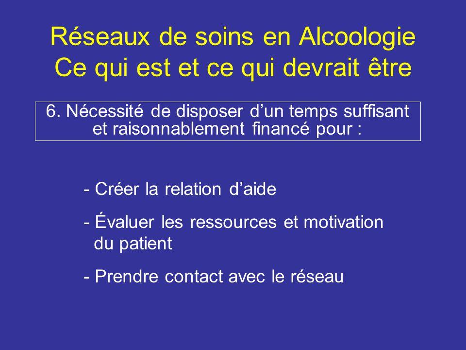 Réseaux de soins en Alcoologie Ce qui est et ce qui devrait être 6.