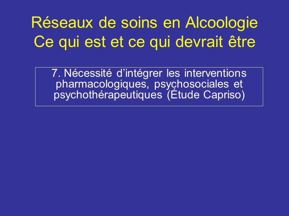 Réseaux de soins en Alcoologie Ce qui est et ce qui devrait être 7.