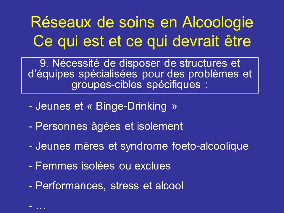 Réseaux de soins en Alcoologie Ce qui est et ce qui devrait être 9.