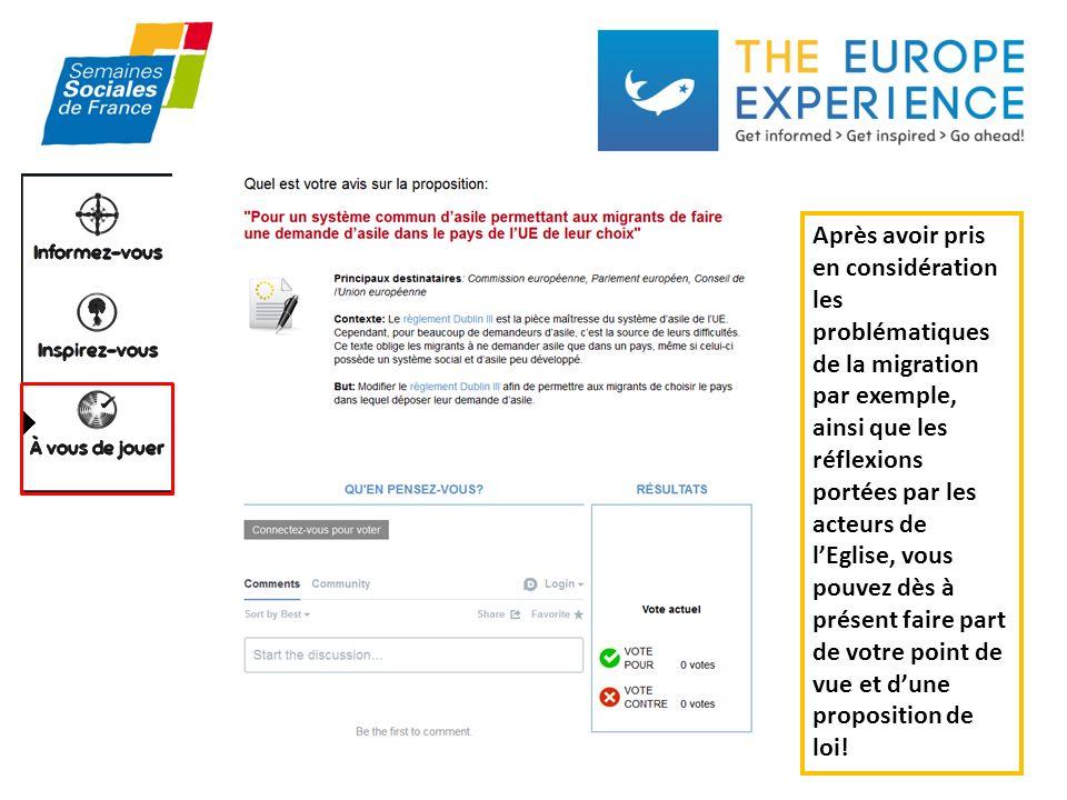 Après avoir pris en considération les problématiques de la migration par exemple, ainsi que les réflexions portées par les acteurs de lEglise, vous pouvez dès à présent faire part de votre point de vue et dune proposition de loi!