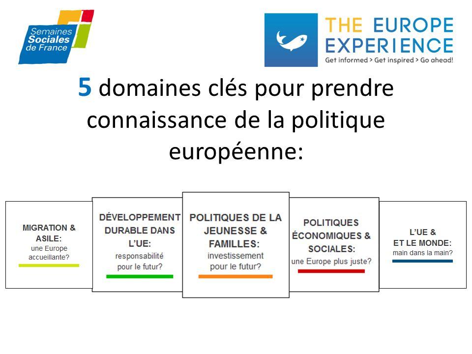 5 domaines clés pour prendre connaissance de la politique européenne: