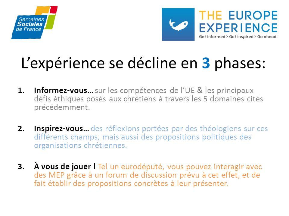 Lexpérience se décline en 3 phases: 1.Informez-vous… sur les compétences de lUE & les principaux défis éthiques posés aux chrétiens à travers les 5 domaines cités précédemment.