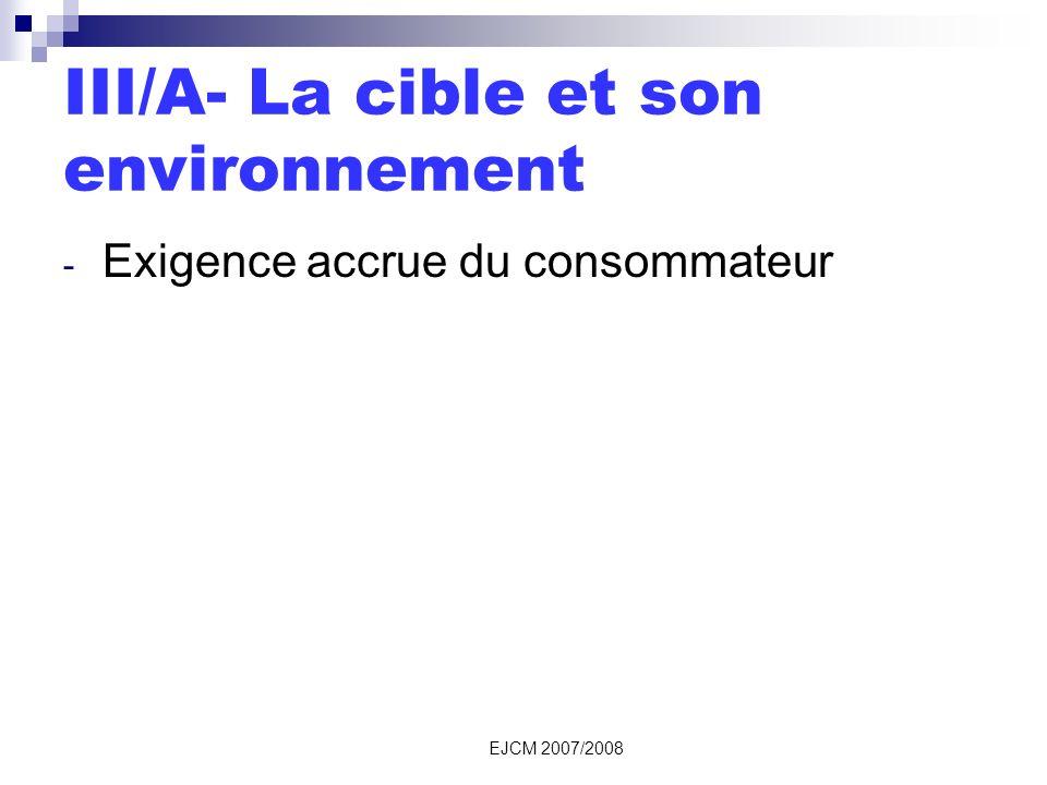 EJCM 2007/2008 III/A- La cible et son environnement - Exigence accrue du consommateur