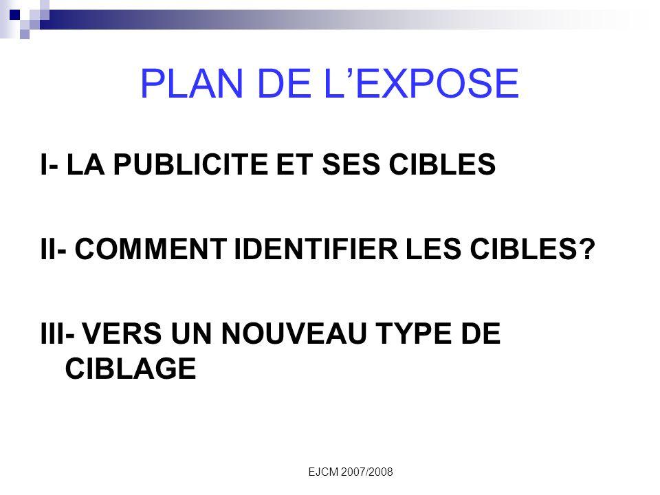 EJCM 2007/2008 PLAN DE LEXPOSE I- LA PUBLICITE ET SES CIBLES II- COMMENT IDENTIFIER LES CIBLES.